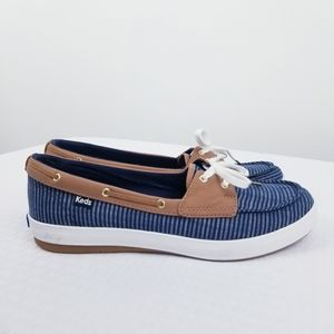 Keds Blue Striped Boat Shoes Loafers Size 9.5